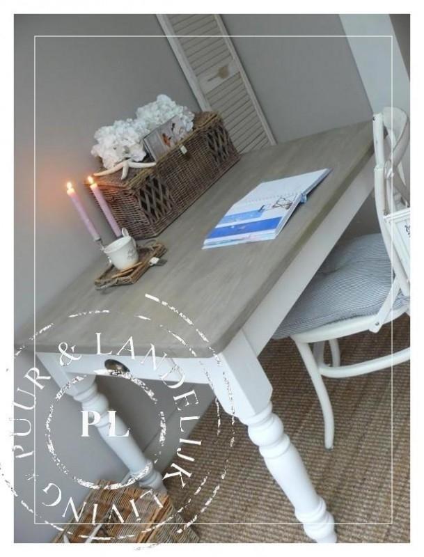 Landelijke bureau/eettafel `Monaco` (in Riviera White)