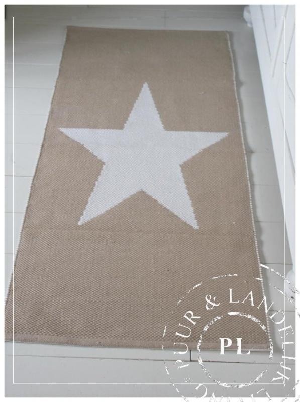 Vloerkleed / STAR / wit & zand