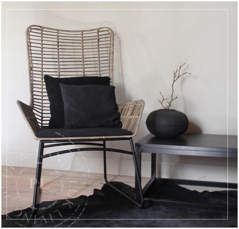 Stoere stoel / zwart frame / incl kussen