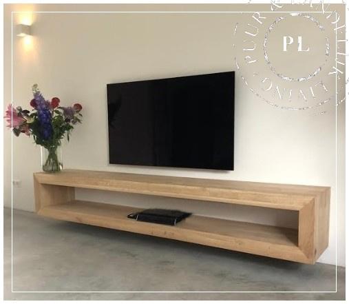 Maatwerk zwevend tv meubel, wandmeubel eiken oak PURE