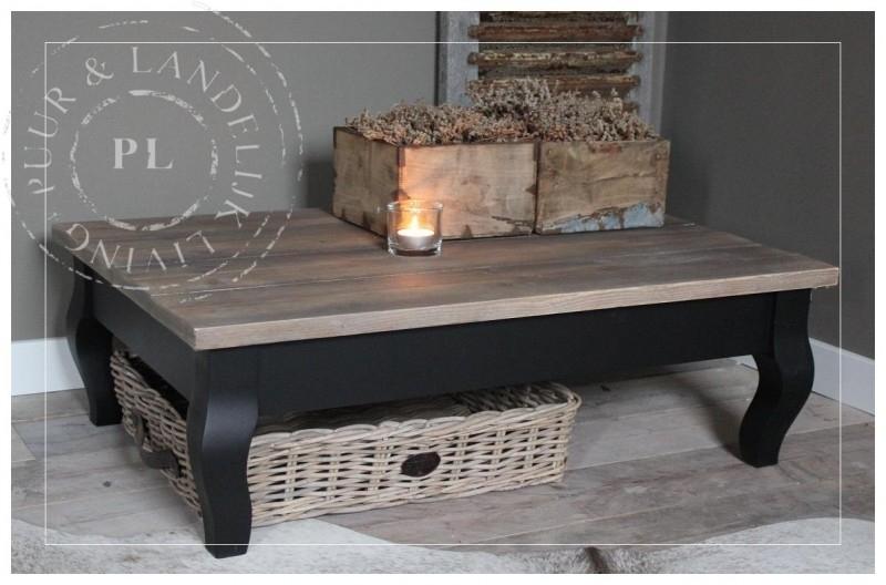 Landelijke Salontafel 60x60.Maatwerk Landelijke Salontafel Old Wood Style Black