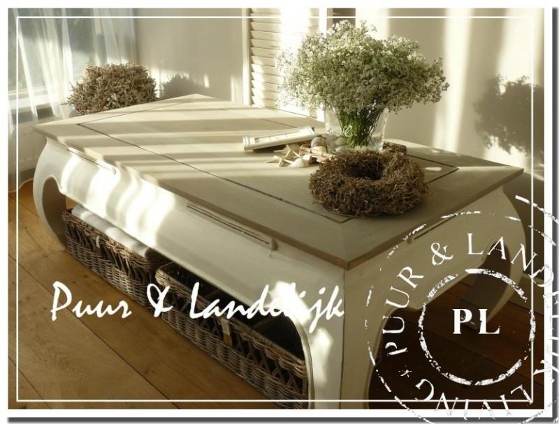 Landelijke teak salontafel 125 cm