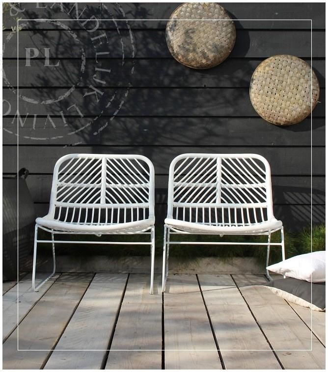Landelijke Lounge Stoel.Rotan Loungestoel Puur Wit Landelijke Stoelen Banken
