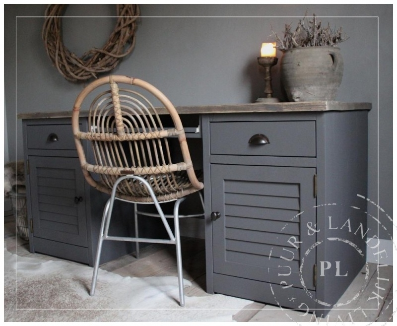 Maatwerk bureau / ENJOY / old Wood / PEWTER