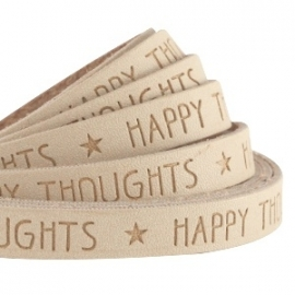 IMITATIE LEER  MET QUOTE: HAPPY THOUGHTS CAMEL BROWN / 10MM