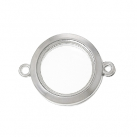 FLOATING MEMORY LOCKET CONNECTOR PLATINUM / 25MM