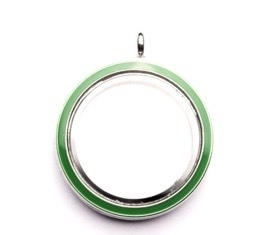 FLOATING MEMORY LOCKET HANGER GROEN / 30MM