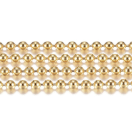 RVS.14 - RVS KETTING BALLCHAIN GOUD / 1,5MM