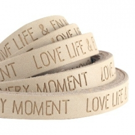 IMITATIE LEER  MET QUOTE: LOVE LIFE  CAMEL BROWN/ 10MM