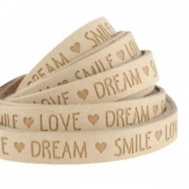 IMITATIE LEER  MET QUOTE: LOVE DREAM SMILE CAMEL BROWN / 10MM