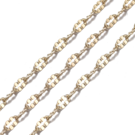 "KETTING ""CABLE CHAIN"" ECHT 18K GOUD PLATED / 4 X 2MM"