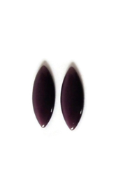 CAB - GLAS CABOCHON CATEYE DONKER PAARS / 25 X 12MM