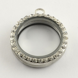 FLOATING MEMORY LOCKET HANGER PLATINUM MET STRASS / 30MM