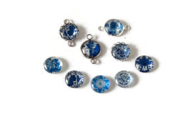 CABOCHONS MIX BLAUW WIT / 12MM