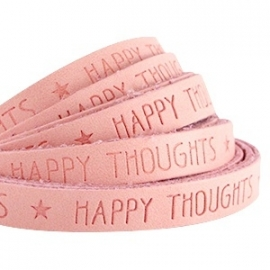 KOOPJE - IMITATIE LEER  MET QUOTE: HAPPY THOUGHTS ROSE PEACH / 10MM
