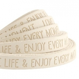 IMITATIE LEER  MET QUOTE: LOVE LIFE BEIGE / 10MM