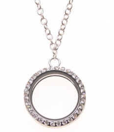 FLOATING MEMORY LOCKET MET KETTING MET STRASS / 30MM