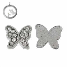 FLOATING CHARM MET STRASS /  VLINDER