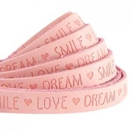IMITATIE LEER  MET QUOTE: LOVE DREAM SMILE ROSE PEACH / 10MM