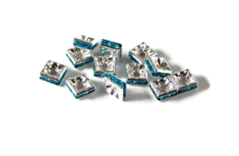 STR.307 - STRASS KRALEN PLAT 4-KANT TURQUOISE BLAUW / 6 X 6MM