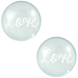 "CABOCHON ""LOVE"" PASTEL GRIJS / 20MM"