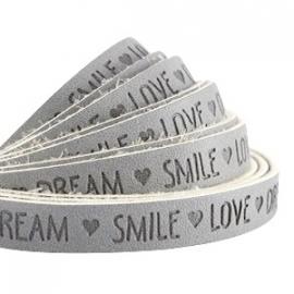 IMITATIE LEER  MET QUOTE: LOVE DREAM SMILE GRIJS / 10MM