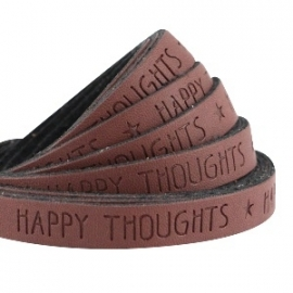 IMITATIE LEER  MET QUOTE: HAPPY THOUGHTS BRUIN / 10MM