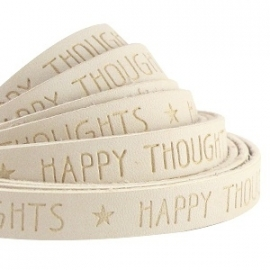IMITATIE LEER  MET QUOTE: HAPPY THOUGHTS BEIGE / 10MM