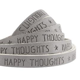 IMITATIE LEER  MET QUOTE: HAPPY THOUGHTS GRIJS / 10MM
