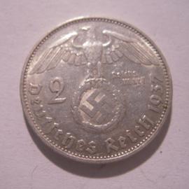 Third Reich - 2 Reichsmark 1937 G. Silver J366/KM93 (16155)