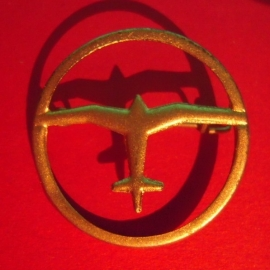 1933-35 German Air Sports Association donation pin.  Airplane , singel in circle. Silvered metal DLV19 (6488)