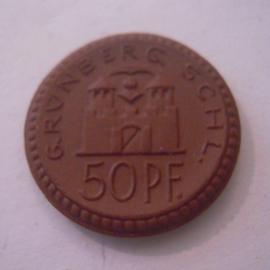 Grünberg / Zielona Gora (POL) ,  50 Pfennig1921. Meissen Porzellan 22mm Sch137/a - I (16125)