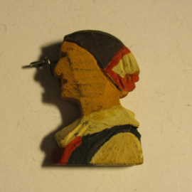 1936 spring German VDA donation pin. Traditional costumes - Woman , black+red dress. Wooden, hand painted T089 (16420)