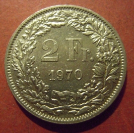 2 Franken 1970     KM21a (11993)
