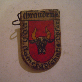 1934-39 German VDA donation pin. Coat of arms German cities abroad - Graudenz / Grudziądz (POL). Metal T031 (14123)