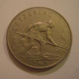 Luxembourg - Charlotte , 1 Franc 1960. CuNi KM46.2 (15179)