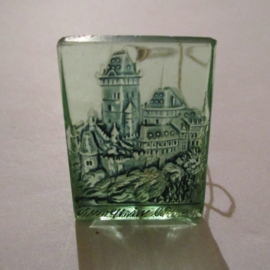 1942-09-19/20 German WHW donation gift. German monuments - Karlstein castle/Karlštejn (CZE). Glass green 35x25mm T501 (16287)