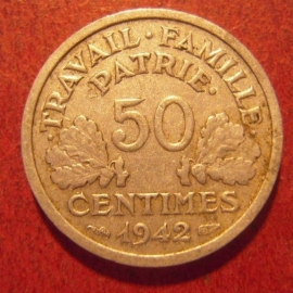 50 Centimes 1942      KM914.4 (11538)