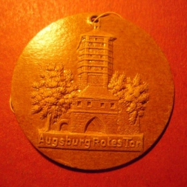 1942-06-27/28 German Red Cross donation gift. Famous city gates - Augsburg - Rotes Tor. Fibreboard 38mm  T230 (7515)