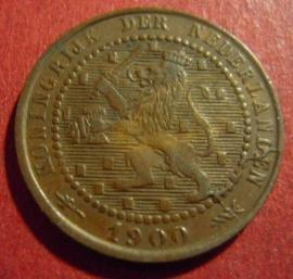 Wilhelmina - 1 Cent 1900. XF !!! Bronze KM107 (1508)