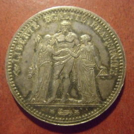French Third Republic - 5 Francs 1873 A. Silver KM820.1 (11342)