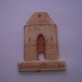 1942-06-27/28 German Red Cross donation gift. Famous city gates - Hainburg (AUT) - Wienertor. Synthetic white with brown patina 40mm T073 (15921)