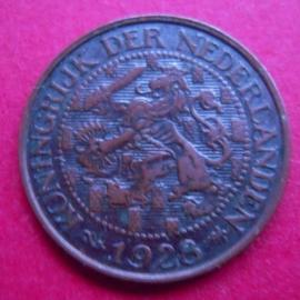 Wilhelmina - 1 Cent 1928. Xf !!! Bronze KM152 (3946)