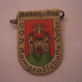 1934-39 German VDA donation pin. Coat of arms German cities abroad - Marburg a.d. Drau / Maribor (SVN). Metal 30x20mm T046 (15967)