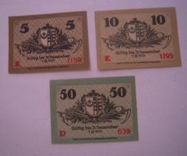 Stadt Kemberg , 5 + 10 + 50 Pfennig 1918. (16040)