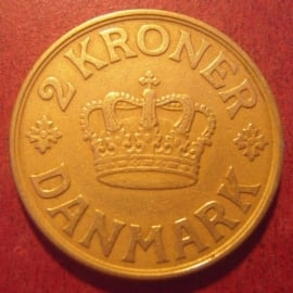 Denmark - Christian X  , 2 Kroner 1925     KM825.1 (11371)
