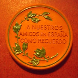 1922 Leipzig , Spanish-German Soccer Games - souvenir for Spaniards. Green décor !!! Ernst Teichert Meissen 40mm brown Sch- (i) - R !!! (11007)