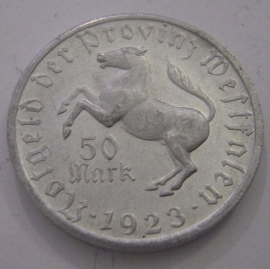 Westfalen , 50 Mark 1923 - Annette v. Droste-Hülshoff. Alu 28mm F645.3/Jn16 (14554)