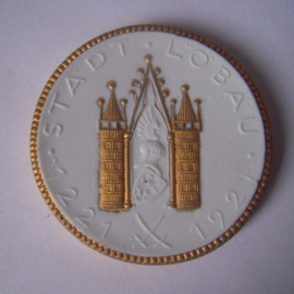 1921 Löbau , 700 yrs celebration. Gold décor !!! Max. 200 pcs made !!! Meissen Porcelain 40mm Sch1829q - R !!! (15931)
