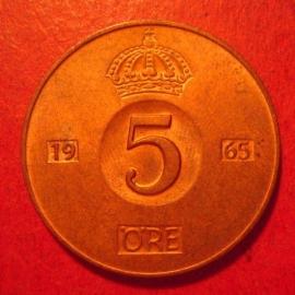 Gustaf VI Adolf , 5 Öre 1965 , original luster !!!    KM822 (12592)